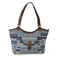 Aztec Printed Handbag with Large Pockets and Zipper - 47736