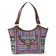 Aztec Print Handbag with Large Pockets and Zipper - 47737