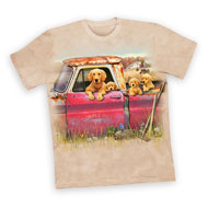 Golden Retriever Family In A Pickup Truck T-Shirt - 47875