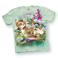 Kittens and Flowers Light Green T-Shirt - 47877
