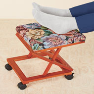 Floral Tapestry Foot Rest with Accordion-Style Frame - 48472