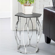Chrome Plated Hexagon Accent Table - 48477