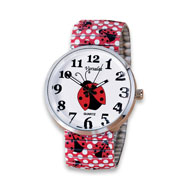 Lady Bug Watch with Stretch Wristband - 48502