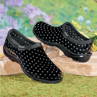 Black and White Dot Sloggers Waterproof Garden Shoes - 48615