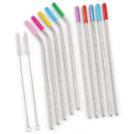 Stainless Steel Straws with Covers - Set of 12 - 48649