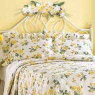 Yellow Floral Rose Bed Pillow Shams