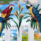 Tropical Parrot Fence Decor Outdoor Decoration