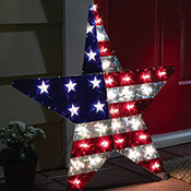 Patriotic Lighted Star Wall Decor - 93070