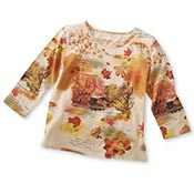 Fall Covered Bridge Sequin 3/4 Sleeve Top - 93159