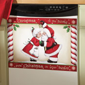 Kissing Santa Christmas Kitchen Dishwasher Cover - 93202