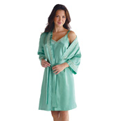 Aqua Satin Slip & Robe Set w/ Lattice Lace Trim