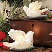 Pearlized Gold-Flecked White Dove Shaped Holiday Candles
