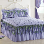 Purple Wisteria Floral Quilted Bedspread