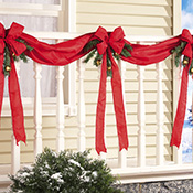 Christmas Ribbon & Bows Fence Decoration