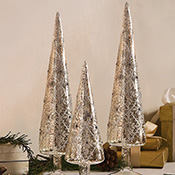 Elegant Silver Glittered Glass Holiday Cone Trees