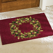 Burgundy Holiday Wreath Outdoor Decorative Front Door Mat