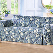 Victorian Inspired Blue & White Rose Slipcover