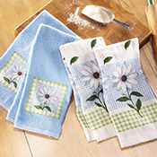 Daisy Kitchen Blue & White Towels Set