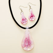 Pink Floral Art Glass Pendant Necklace & Earrings Set