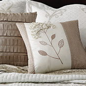 Embroidered Floral & Pleated Accent Pillow Set