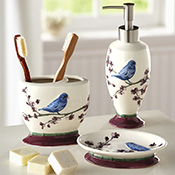 Botanical Bird Bathroom Accessory Set