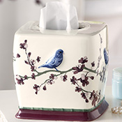 Botanical Bird Bathroom Ceramic Tissue Box Cover