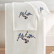 Botanical Bird White Bathroom Towel Set