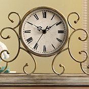 Scroll Antique Look Mantel/ Table Clock