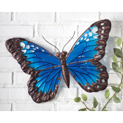 Enchanted Blue Glass Butterfly Garden Wall Art
