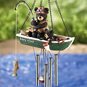 Northwoods Fishing Bears Garden Windchime Dangler