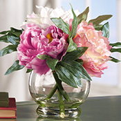 Faux Peony Floral Bouquet in Vase