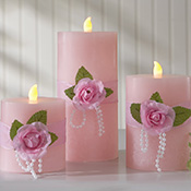 Pink Rose & Pearls Flickering Flameless Pillar Candles