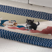 Playful Kittens Laundry Room Braided Runner Rug