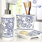 Westbrook Blue & White Bathroom Accessory Set