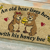 Old Bear and His Honey Front Door Welcome Mat