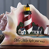 May Hope Light Your Way Seashell Lighthouse Sculpture