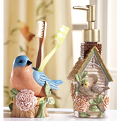 Birds and Blooms Bathroom Accessory Set