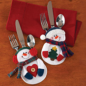 Snowman Holiday Silverware Holders - 8 pc