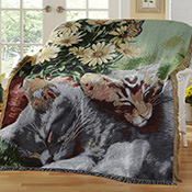 Sleeping Kittens with Daisies Tapestry Throw