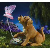 Puppy and Lighted Butterfly Garden Statue