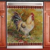 Country Rooster Floral Kitchen Dishwasher Cover