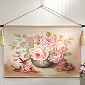 Victorian Floral Bouquet Canvas Scroll Banner