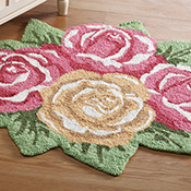 Pastel Rose Shaped Accent Rug