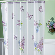 Lilac & Butterflies Bathroom Shower Curtain