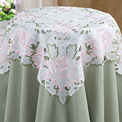 Embroidered Pink Rose Cutout Table Linens