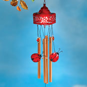 Solar Lighted Ladybug Windchime Decoration