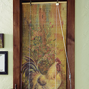 Country Rooster Bamboo Curtain Shade