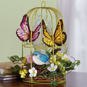 Fiber Optic Decorative Springtime Birdcage
