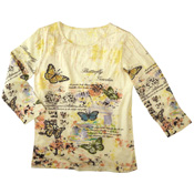 Sequin Garden Butterfly 3/4 Sleeve Top