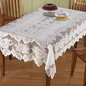 White Floral Lace Tablecloth - 95957